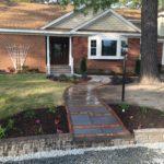 Stone Walkway, Beds, Lawn