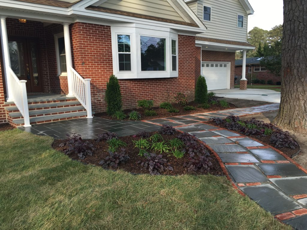 Stone Walkway, Beds, Lawn